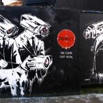 Zabou: 'Privacy' - street art piece with stencil + spray paint, Chance Street, London, 2014
